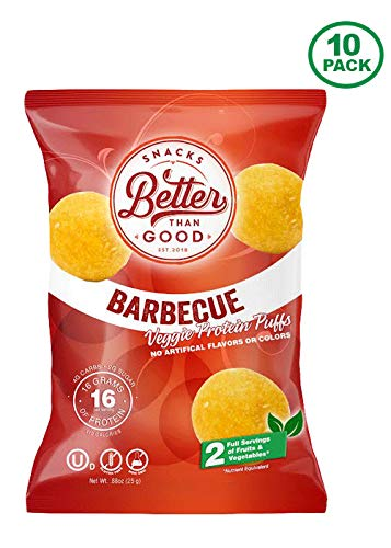 Better Than Good Snacks - BBQ Veggie Protein Puffs 16g Protein - 2 Serving of Fruits & Veggies, Low Carb, Low Sugar, 110 Calories, Keto Friendly, Healthy Diabetic Snack by Better Than Good Snacks