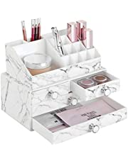 mDesign Set of 2 Makeup Organisers – Stackable Cosmetic Organiser for Dressing Table – Plastic Makeup Storage with 4 Drawers and a Separate 16-Compartment Shelf – White/Grey
