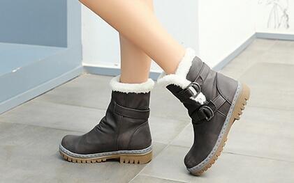 0b64ddc072de4 good Women's Winter Snow Heavy Thick Faux Fur Lining Warm Belt Buckle  Casual Fashion Cold Weather