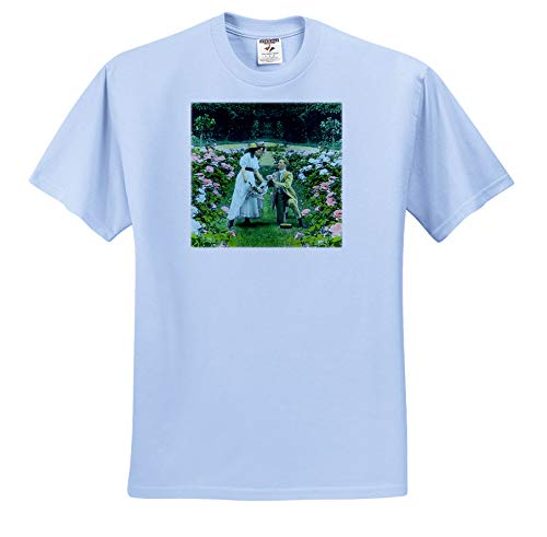 Shirt Garden Romantic (Scenes from The Past - Magic Lantern - Scott and Van Altena Sing Along Slide Gathering Roses in The Garden - T-Shirts - Youth Light-Blue-T-Shirt XS(2-4) (ts_301611_59))