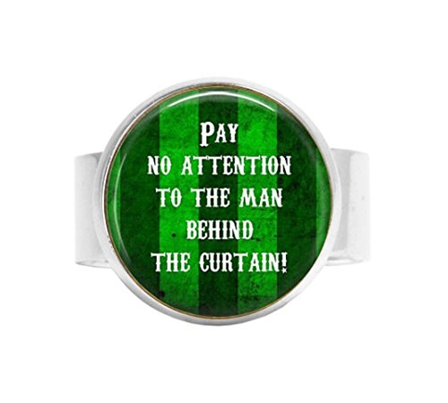 stap Wizard of Oz Adjustable Ring - Word Jewelry - Quote Adjustable Ring - Cosplay Jewelry - Dorothy & Toto ~ Wizard of Oz Quote ~ Man Behind Curtain