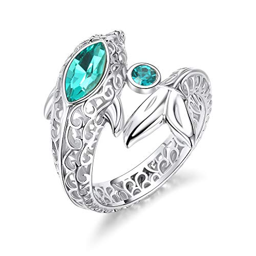 (KOAEM Love Ring Elegant Dolphin Jewelry Gifts with Blue Pink Green Swarovski Crystal 6/7/8/9)