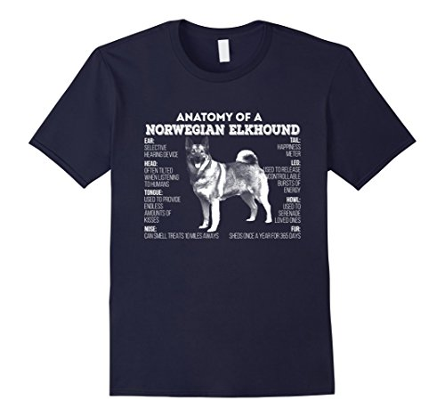Mens Anatomy of a Norwegian Buhund T-shirt Large Navy