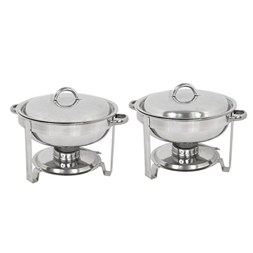 ZENY Set of 4 Round Chafing Dish 5 Quart Stainless Steel Full Size Tray Buffet Catering (4) by ZENY (Image #1)