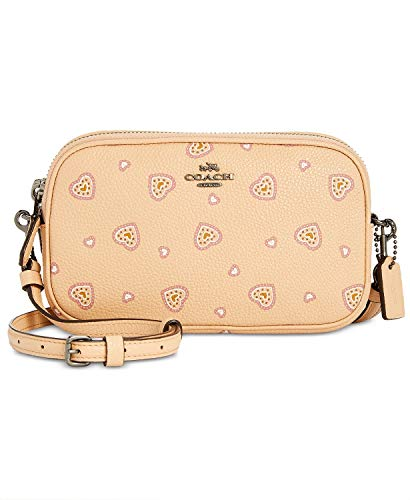 COACH Women's Crossbody Clutch in Heart Print Dk/Beechwood Western Heart One Size