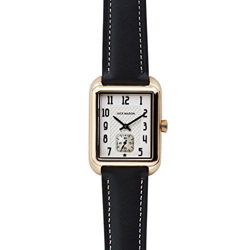 Jack Mason Issue No 2 Yellow Gold Sub Second White Dial Black Leather Strap by Jack Mason