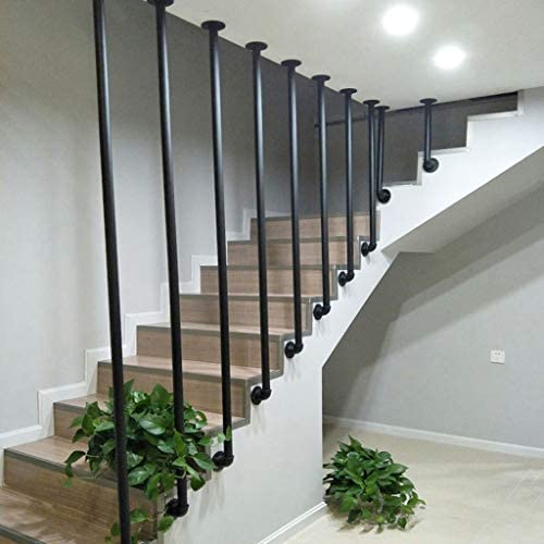 Escaliers Main Courante Industrielle en Fer Noir Loft Villa Garde-Corps Rail Rampe escalier Int/érieur et Ext/érieur Pipe en Fer forg/é en m/étal Kit Complet