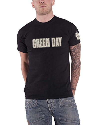 Green Day T Shirt Band Logo & Grenade Applique Official Mens Black (Grenade Day Green)