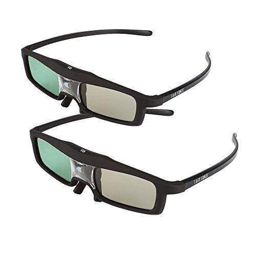 2 Pack of SainSonic CX-30 144Hz 3D Rechargeable IR Active Shutter Glasses for DLP-Link Projector & TV- BenQ, Optoma, Dell, Mitsubishi, Samsung, Acer, Vivitek, NEC, Sharp, ViewSonic etc