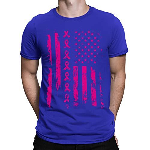(SpiritForged Apparel Pink Ribbon American Flag Breast Cancer Men's T-Shirt, Royal 2XL)