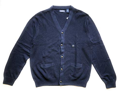 Chaps Men's Button Front Seed Stitch Cardigan, Navy, Large