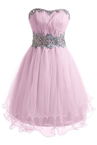 Ballkleid Traegerlos Linie Festkleid Zaertlich Tuell Mini Organza Abendkleid Rosa Bride Gorgeous A qESfzxBOnw