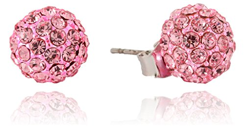 Multi-Color Disco Ball Pave Crystal Fireball Stud Earrings 10mm by Lovey Lovey 10 Mm Pave Ball