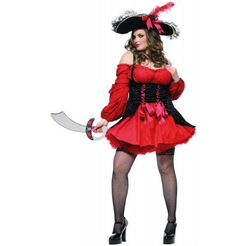 [Vixen Pirate Wench Costume - Plus Size 1X/2X - Dress Size 16-20] (Plus Size Sexy Pirate Costumes)
