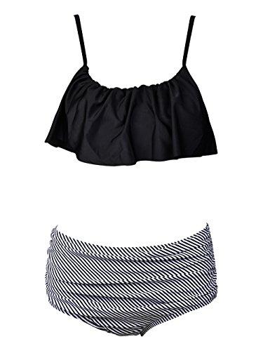 Balabalam Women's Swimsuit Flounce Falbala Padded Black-and-white Stripe High Waisted 2 Pieces Bikini Set (Small)