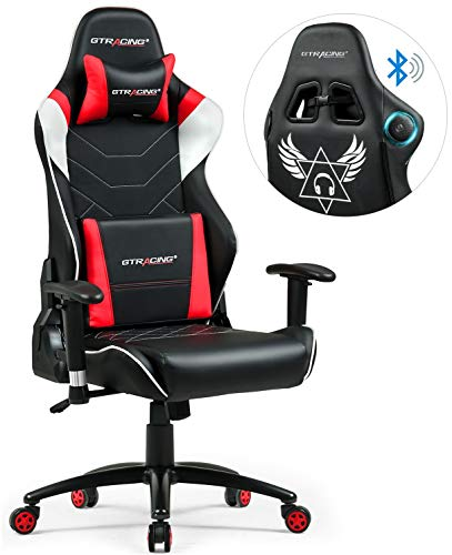 GTRACING Audio Gaming Chair with Bluetooth Speaker【Patented】 Music Racing Office Chair Heavy Duty 400lbs Ergonomic E-Sports Chair for Pro Gamer GT899 Red
