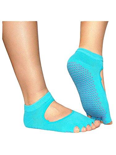 1 Paar Unisex Damen Herren ZehenSocken Yogasocken offene Zehen Socken Blau