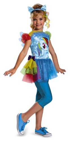 Hasbro's My Little Pony Rainbow Dash Classic Girls Costume, (Little Kid Halloween Costumes)