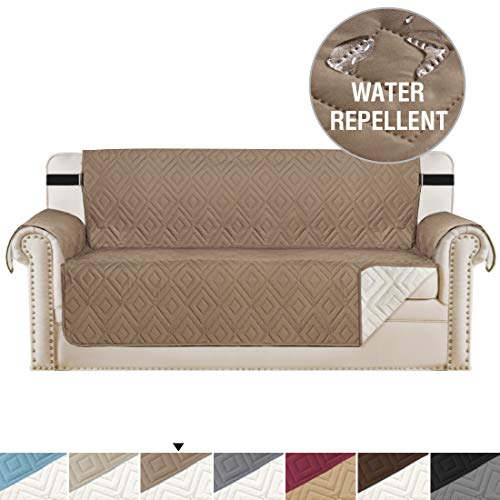 (Reversible Quilted Furniture Protector, Slipcovers, Sofa Covers for 3 Cushion Couch, 2 Inch Straps, Seat Width Up to 66