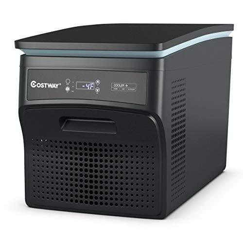 COSTWAY Portable Refrigerator, 27 Quart Compressor Freezer -13°F to 50°F, Fridge Dual-Use, Compact Vehicle Refrigerator for Car, Outdoor and Home Use 12/24V DC and 100-240V AC