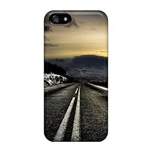 Iphone 5/5s Hard Back With Bumper Silicone Gel Tpu Case Cover Dark Winter Road