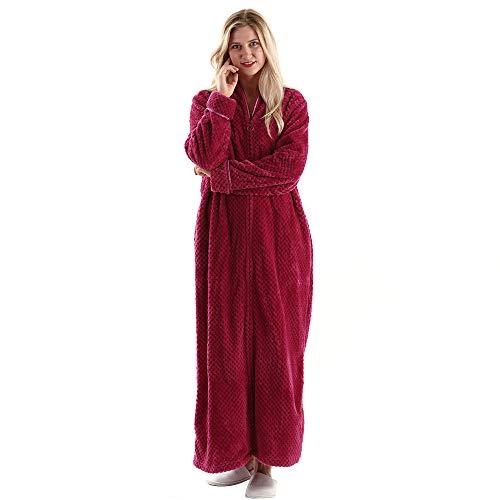 (Womens Fleece Warm Robe,Cozy Fluffy Long Bathrobe,Plush Night Dressing Robes for Women Red )