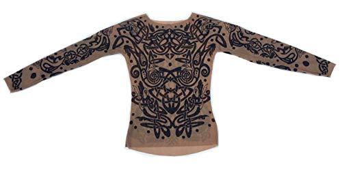 5046f817f Wild Rose Ladies TRIBAL Tattoo Mesh Shirt Celtic Chain Knot Dragon  Blackwork Tan