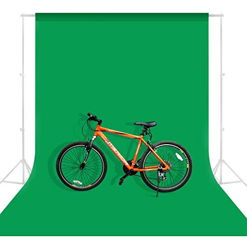 MOUNTDOG 6.5ftx10ft Photography Backdrop Background, Green Chromakey Muslin Background Screen for Photo...