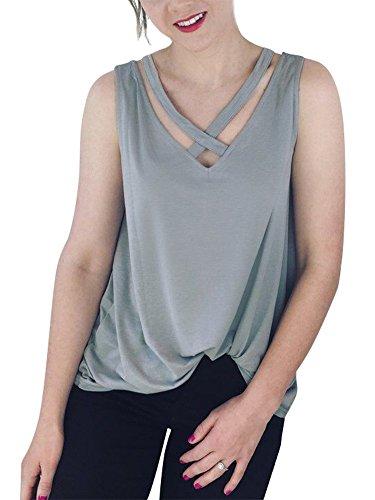 Smibra Womens Causal Sleeveless Crisscross V Neck Pleat Tunic Shirt Blouse Top Grey ()