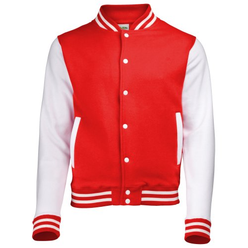 Review Awdis Unisex Varsity Jacket (M) (Fire Red/White)
