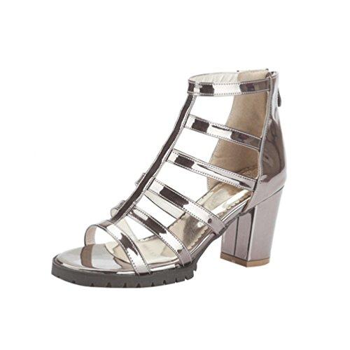 YOUJIA Mujer Casual Punta abierta Plataforma Sandalias con Talón Romanas Zapatos de gladiador Gun Color