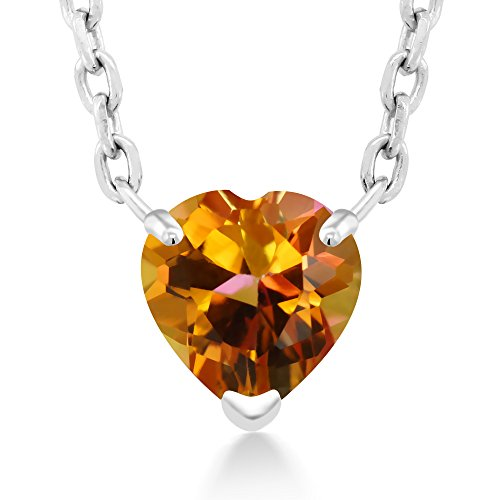Gem Stone King 1.48 Ct Twilight Orange Mystic Topaz 925 Sterling Silver Pendant With Chain