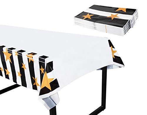 New Year's Plastic Tablecloth - 6-Pack 54 x 108-Inch Rectangular Disposable Table Cover, Perfect for Holiday Buffet Banquet or Picnic Table, Festive Stars, Black and White Stripe Design, 4.5 x 9 Feet