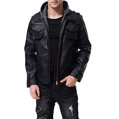 WEEN CHARM Mens Faux Leather Jacket Zip Up PU Leather Outerwear Windbreaker Hooded ()