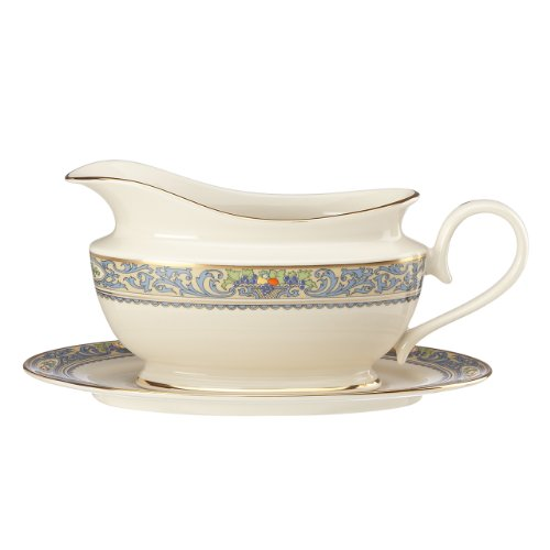 Lenox Autumn Sauce Boat and Stand, - Boat Sauce Gold