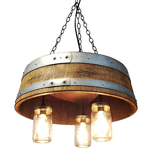 (1/4 Wine Barrel & Mason Jar Pendant Light Chandelier Wine Barrel Furniture Central Coast Creations)