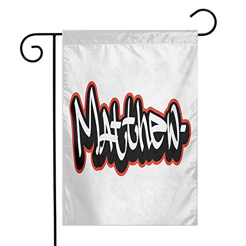 Mannwarehouse Matthew Garden Flag Font Design Inspired by Hip-hop Culture and Street Art Name for Men Premium Material W12 x L18 Vermilion Black and White