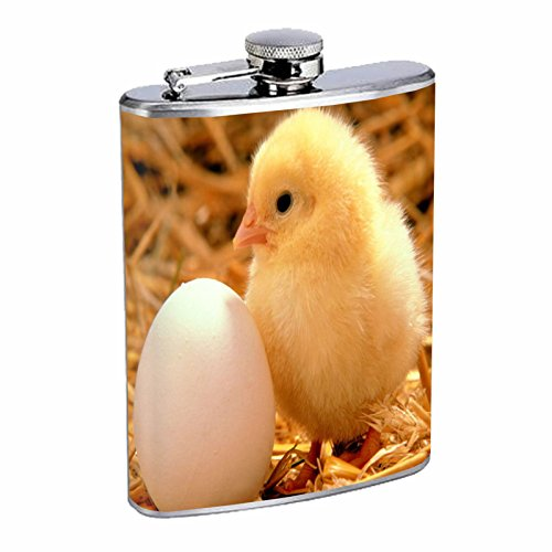Chicken Flask D1 8oz Stainless Steel Cute Fluffy Adorable Baby Chicks Easter
