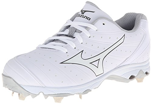 Mizuno Women's 9-Spike Advanced Sweep 2 Fastpitch Cleat, White/White, 12 M US