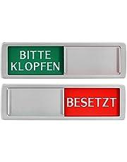 Gelieve kloppen - BEETZT schild XL - Met schuif - vrij - bezet schuifborden - kleefbord - 17,5 x 5 x 0,7 cm - Montage: 3M kleefoppervlak - schilden met schuiffunctie.