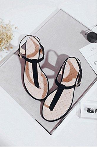 La Sra carpeta sandalias de cuero sandalias de Spiraea Ci color del encanto con densamente con la moda femenina salvaje Black