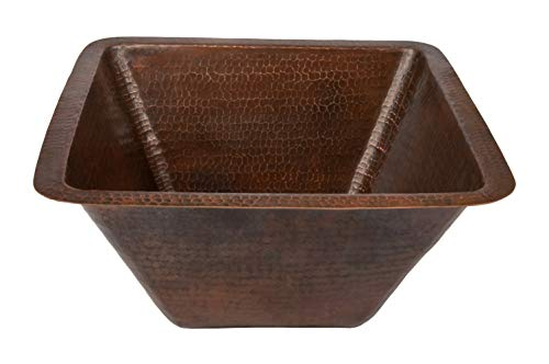 (Premier Copper Products BS17DB 17-Inch Universal Large Square Hammered Copper Sink, Oil Rubbed Bronze)