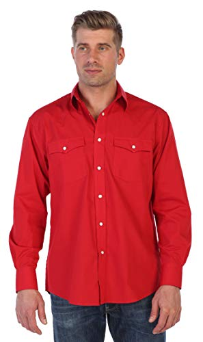 Gioberti Men's Solid Long Sleeve Western Shirt with Pearl Snap-on Buttons, Red, X Large