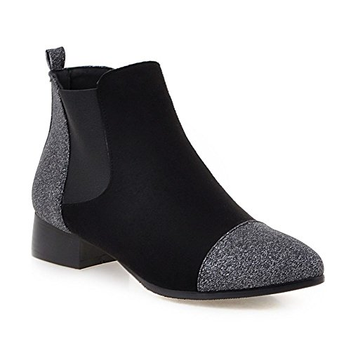Unido sintética de DecoStain Tamaño Botines Chunky gamuza de mujer para bajo Botas Negro Heel Mid negra Reino de de Chelsea gemelos tacón Zapatos gamuza Block FAXg6W