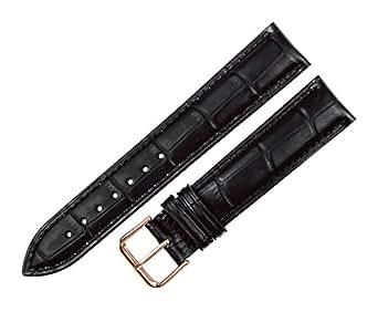 RECHERE Alligator Crocodile Grain Leather Watch Band Strap Rose Gold Pin Buckle (Black 12mm)