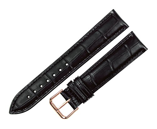 RECHERE Alligator Crocodile Grain Leather Watch Band Strap Rose Gold Pin Buckle (Black 17mm)