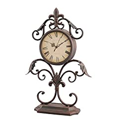 Stonebriar Vintage Scrolled Metal Fleur De Lis Table Top Clock on Stand, Antique Victorian Home Decor Accents for the Mantel, Shelf, or Any Table Top, Battery Operated