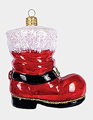 Red Santa Claus Boot Shoe Polish Glass Christmas Tree Ornament Made in Poland - Santa Christmas Ornament Shoes