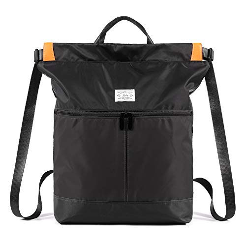 WANDF Drawstring Backpack String Bag Sackpack Cinch Water Resistant Nylon for Gym Shopping Sport Yoga (Black 6033) (Zip Easy Tote)