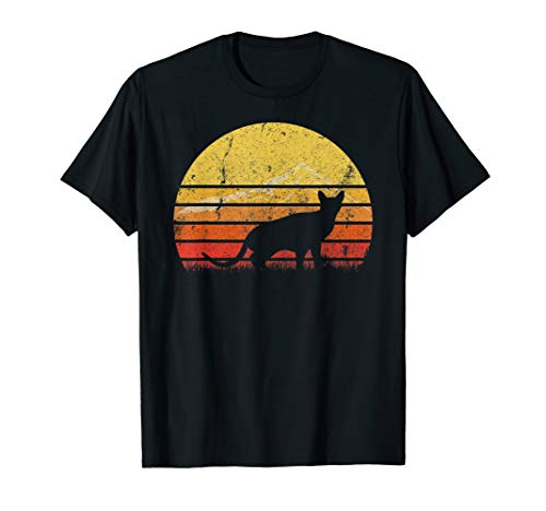 Vintage Retro Abyssinian Cat Silhouette Sunset Distressed T-Shirt